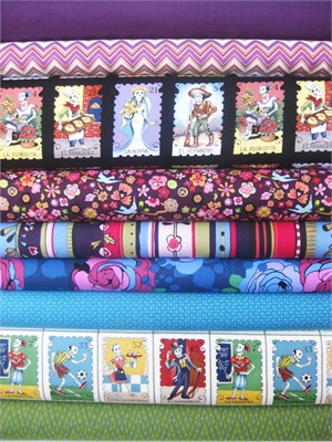 Fabricworm Custom Bundle, Dia de Los Muertos Bright, in Fat Quarters, 9 Total