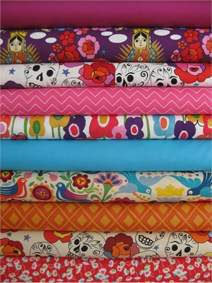Fabricworm Custom Bundle, Dia De Los Muertos V.4 in FAT QUARTERS 10 Total