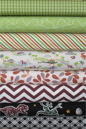 Fabricworm Custom Bundle, Dino Dig in FAT QUARTERS 8 Total