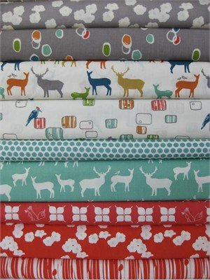 Fabricworm Custom Bundle, Doe Field, FAT QUARTERS, 9 Total