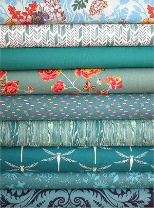 Fabricworm Custom Bundle, Dreaming in Teal in FAT QUARTERS 9 Total