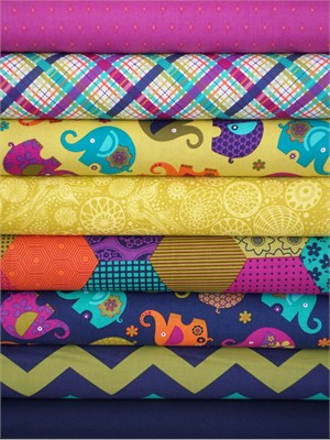 Fabricworm Custom Bundle, Elephants on Parade in FAT QUARTERS 8 Total (Pre-cut)