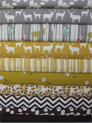 Fabricworm Custom Bundle, Golden Afternoon, FAT QUARTERS, 10 Total
