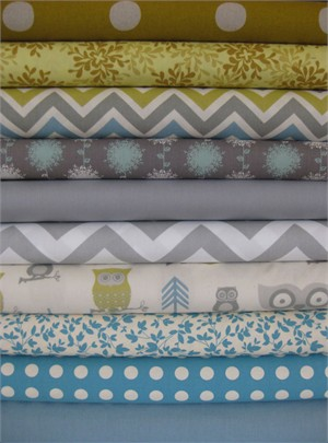 Fabricworm Custom Bundle, Hooty Summer in FAT QUARTERS, 10 Total