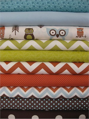 Fabricworm Custom Bundle, Hooty Village in FAT QUARTERS, 10 Total