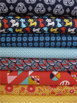 Fabricworm Custom Bundle, Indigo Kitty in FAT QUARTERS, 8 Total