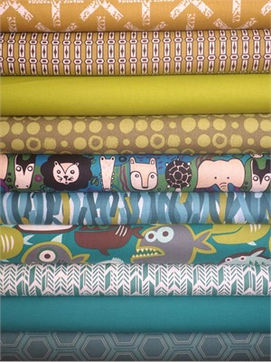 Fabricworm Custom Bundle, I Wanna Piranha in FAT QUARTERS 10 Total