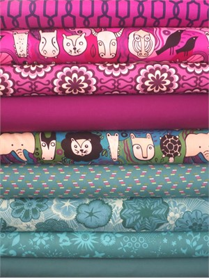 Fabricworm Custom Bundle, Jewel Safari in FAT QUARTERS 9 Total