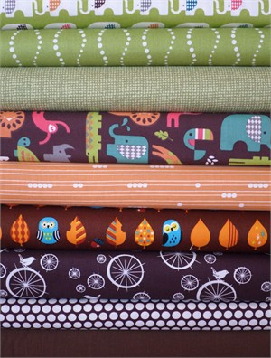 Fabricworm Custom Bundle, Jungle Boogie in FAT QUARTERS 9 Total