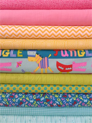 Fabricworm Custom Bundle, Jungle Bright in FAT QUARTERS 10 Total