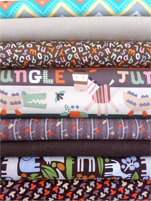 Fabricworm Custom Bundle, Jungle Chocolate in FAT QUARTERS 8 Total