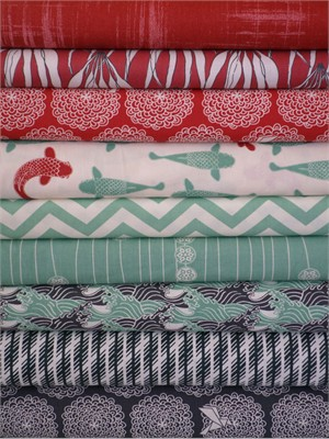 Fabricworm Custom Bundle, Just Keep Swimming in FAT QUARTERS 9 Total (Pre-cut)
