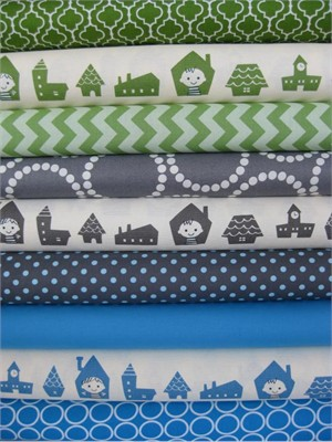 Fabricworm Custom Bundle, Kids in the Neighborhood in FAT QUARTERS, 9 Total