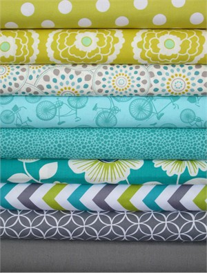 Fabricworm Custom Bundle, Lemon Lime in FAT QUARTERS 9 Total