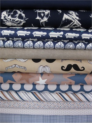 Fabricworm Custom Bundle, Little Man in FAT QUARTERS 12 Total
