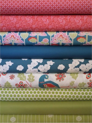 Fabricworm Custom Bundle, Lotus Pond in FAT QUARTERS 9 Total(Pre-cut)