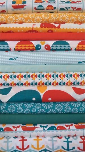 Fabricworm Custom Bundle, Marine Love in FAT QUARTERS 13 Total