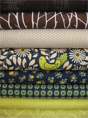 Fabricworm Custom Bundle, Miner's Canary in FAT QUARTERS, 8 Total