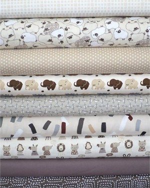 Fabricworm Custom Bundle, Neutral Nursery in FAT QUARTERS 9 Total