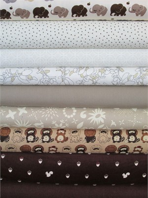 Fabricworm Custom Bundle, Neutral Nursery V.2 in FAT QUARTERS 9 Total