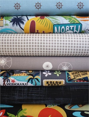 Fabricworm Custom Bundle, Oahu, in Fat Quarters, 7 Total