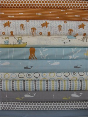 Fabricworm Custom Bundle, Ocean Voyage in FAT QUARTERS, 11 Total