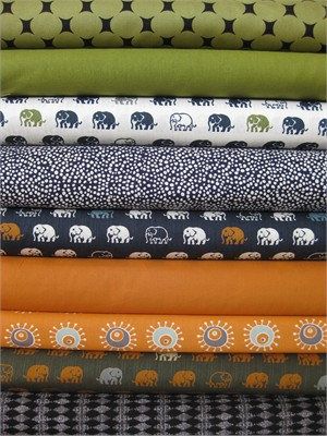 Fabricworm Custom Bundle, Pachyderm Mission in FAT QUARTERS 9 Total