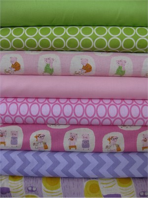 Fabricworm Custom Bundle, Piggy Paradise in FAT QUARTERS 8 Total