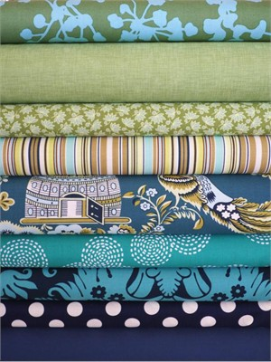 Fabricworm Custom Bundle, Pond Life, in Fat Quarters, 9 Total