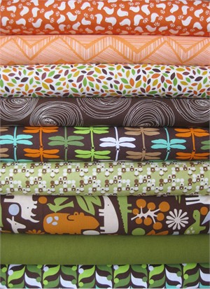 Fabricworm Custom Bundle, Retro Jungle in FAT QUARTERS, 9 Total