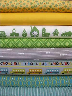 Fabricworm Custom Bundle, School Time in FAT QUARTERS 8 Total
