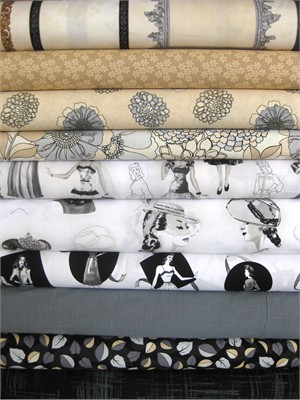 Fabricworm Custom Bundle, Silent Cinema in FAT QUARTERS, 10 Total