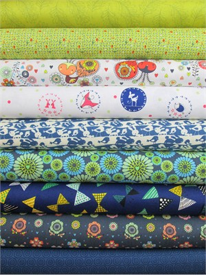 Fabricworm Custom Bundle, Simply Friends in FAT QUARTERS 9 Total