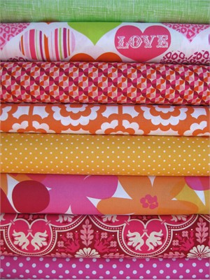 Fabricworm Custom Bundle, Sorbet In Love in FAT QUARTERS, 8 Total