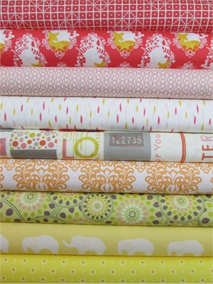 Fabricworm Custom Bundle, Summer's Dream in FAT QUARTERS 9 Total
