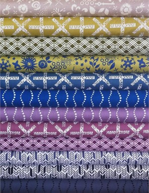 Fabricworm Custom Bundle, Sun Print Sampler, Midnight in FAT QUARTERS 10 Total