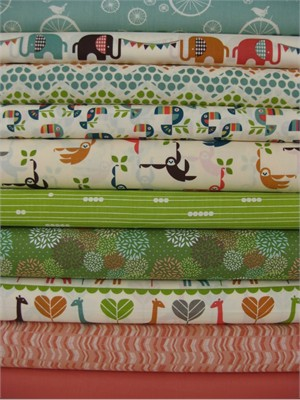 Fabricworm Custom Bundle, Sweet Safari in FAT QUARTERS, 10 Total