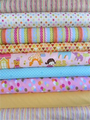 Fabricworm Custom Bundle, Toyland, Bright, in Fat Quarters, 9 Total