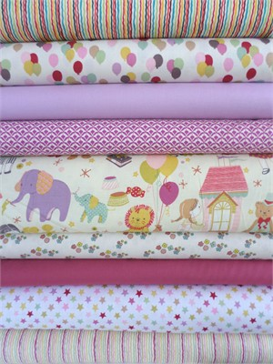 Fabricworm Custom Bundle, Toyland, Cream/Pastel, in Fat Quarters, 9 Total