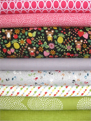 Fabricworm Custom Bundle, Tutti Fruity Teddy, in Fat Quarters, 8 Total