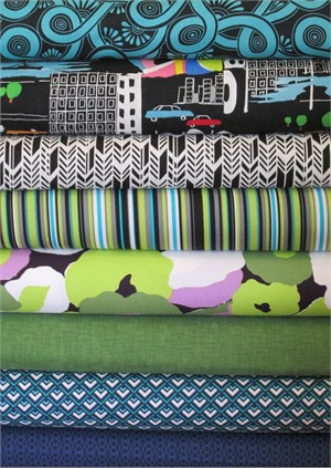 Fabricworm Custom Bundle, Urban Night in FAT QUARTERS 8 Total