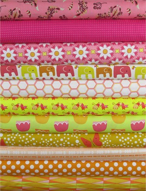 Fabricworm Custom Bundle, Vintage Summer in FAT QUARTERS 10 Total