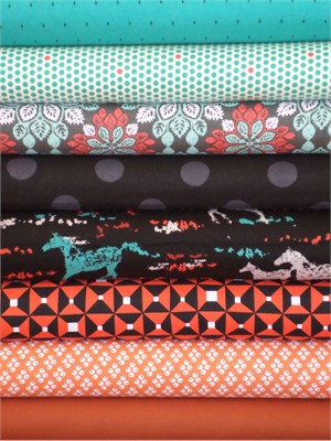 Fabricworm Custom Bundle, Wildfire in FAT QUARTERS 8 Total