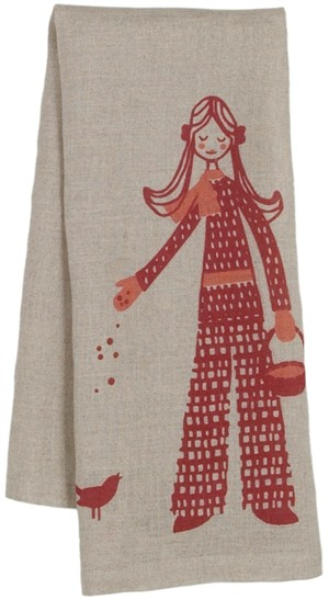 "Fabricworm Gift, Nadja ""Girl Gathering"" Tea Towel"