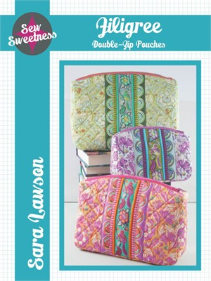Sew Sweetness, Sewing Pattern, Filigree Double-zip Pouches