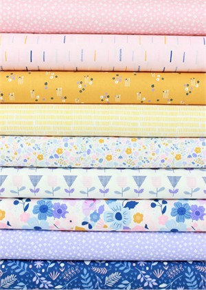 Cathy Nordström for Andover, Floral Splendor, Petal in FAT QUARTERS 9 Total