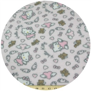 Fleece, Printed, Hello Kitty, Angel Wings Pale Pink
