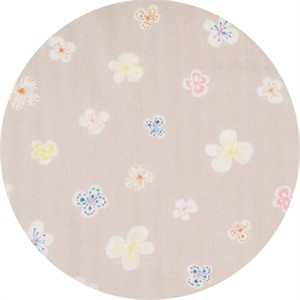 Japanese Import, DOUBLE GAUZE, Fluttering Flower Taupe