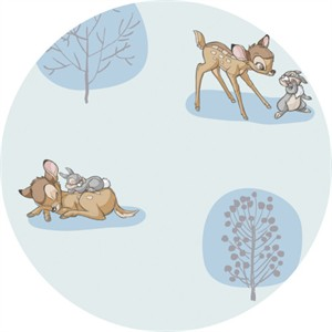 Camelot Fabrics, Bambi, Forest Scene Light Blue