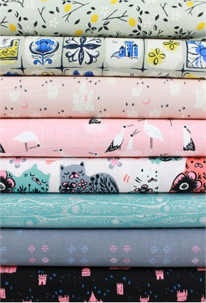 Sarah Watts for Cotton and Steel, From Porto With Love, Silver in FAT QUARTERS 8 Total